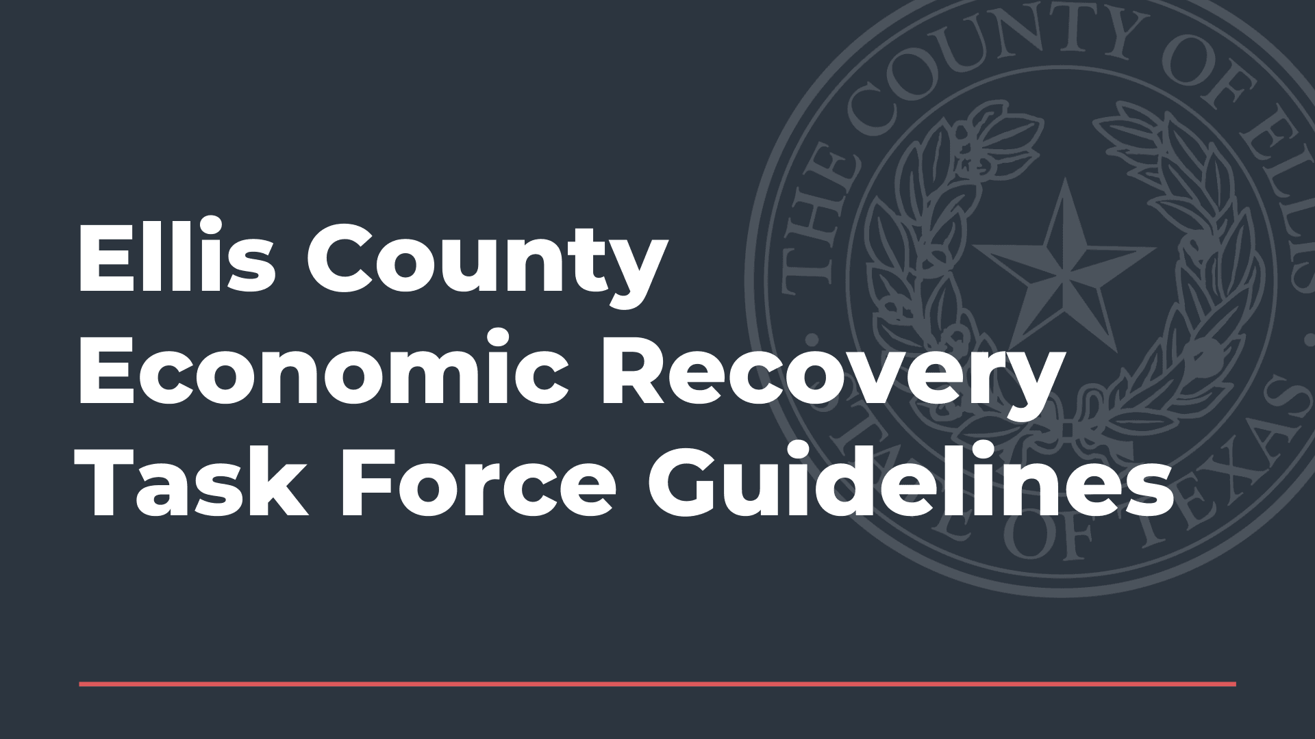 Ellis County Economic Recovery Task Force Guidelines